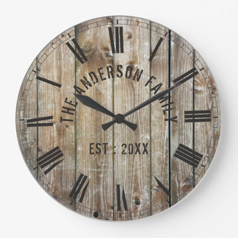Rustic Planks Wood Custom Family Name Farmhouse Large Clock