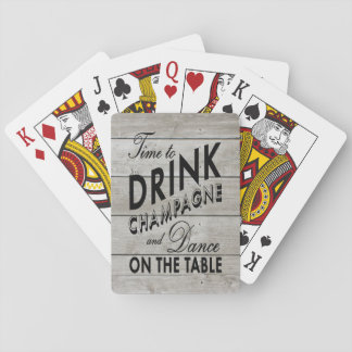 Rustic Playing Cards Time to Drink Champagne