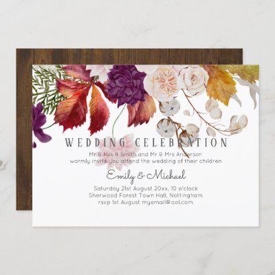 Rustic Plum Ginger Fig Floral Wedding Invite