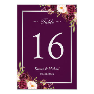 Rustic Plum Purple Floral Silver Gray Table Number