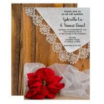 Rustic Poinsettia and Lace Winter Barn Wedding Invitation
