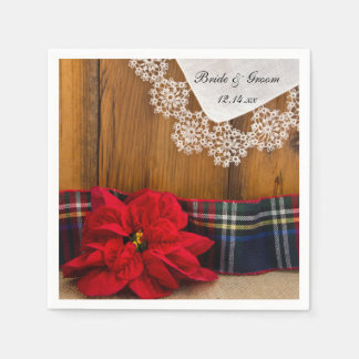 Rustic Poinsettia and Plaid Country Winter Wedding Napkin