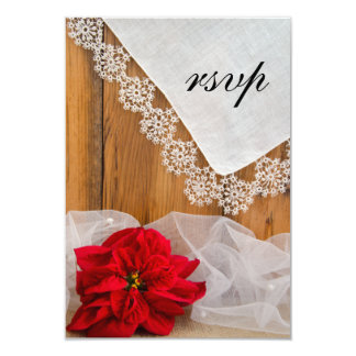 Rustic Poinsettia Lace Country Winter Wedding RSVP Card