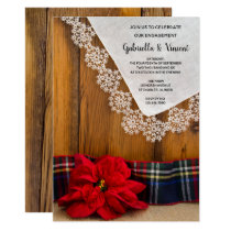 Rustic Poinsettia Plaid Winter Engagement Party Invitation