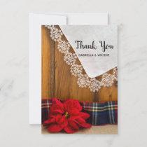 Rustic Poinsettia Plaid Winter Wedding Thank You