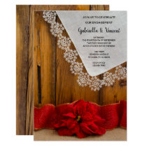Rustic Poinsettia Winter Engagement Barn Party Invitation