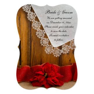 Rustic Poinsettia Winter Wedding Save the Date 5x7 Paper Invitation Card