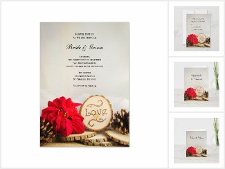 Rustic Poinsettia Woodland Winter Wedding