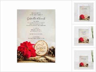 Rustic Poinsettia Woodland Winter Wedding