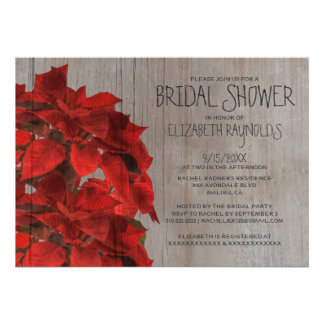Rustic Poinsettias Bridal Shower Invitations Custom Announcement