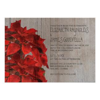 Rustic Poinsettias Wedding Invitations Personalized Invites
