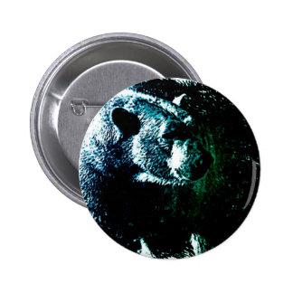 Rustic polar bear on black background pinback button