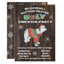 Rustic Polar Bear Ugly Sweater Party Invitation
