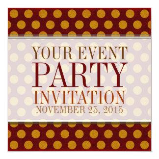 "Rustic Polka Dots Custom Party Invitations 5.25"" Square Invitation Card"