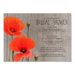 "Rustic Poppy Bridal Shower Invitations 5"" X 7"" Invitation Card"