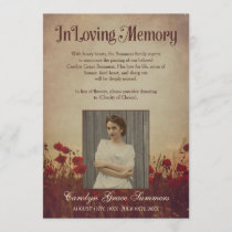 Rustic Poppy Field In Loving Memory Custom Photo Announcement
