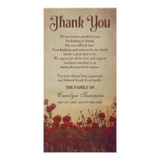 Rustic Poppy Field   Sympathy Thank You Card