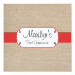 Rustic Poppy Red and Beige Burlap First Communion Card