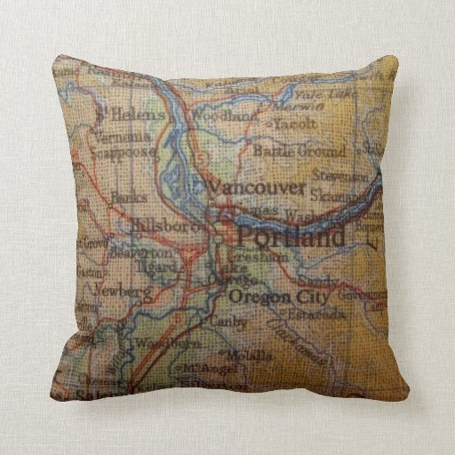 Rustic Portland Oregon Map Throw Pillow Zazzle