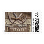 rustic postage stamps with western horseshoes