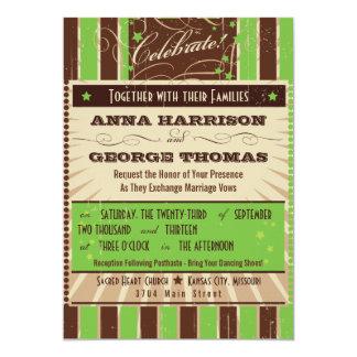 Rustic Poster: Apple Green Custom Wedding 5x7 Paper Invitation Card