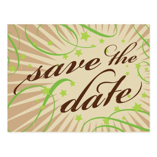 Rustic Poster: Apple Green Save the Date Postcard