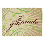 Rustic Poster: Apple Green Swirls Thank You Stationery Note Card