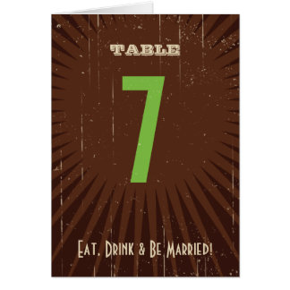 Rustic Poster: Apple Green Table Number Greeting Card