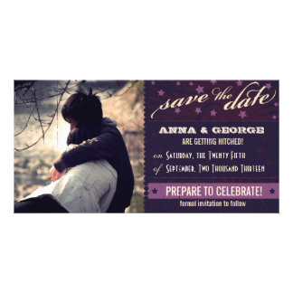 Rustic Poster Aubergine Dream Save the Date Photo Greeting Card