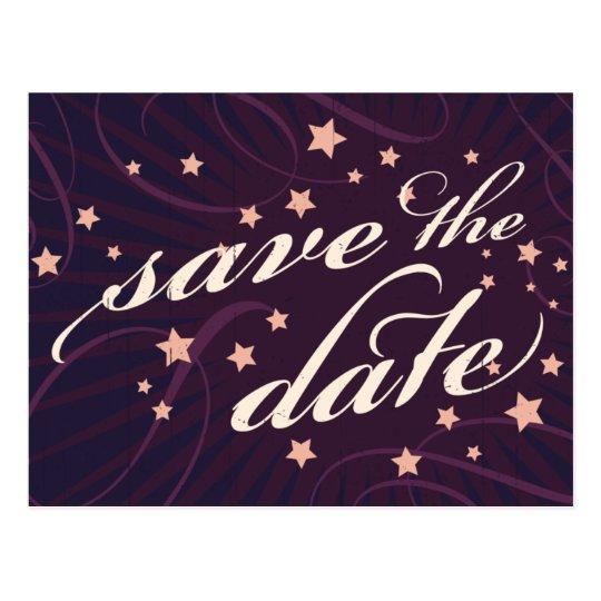 Rustic Poster: Aubergine Dream Save the Date Postcard