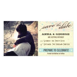 Rustic Poster: Blue & Cocoa Custom Save the Date Customized Photo Card