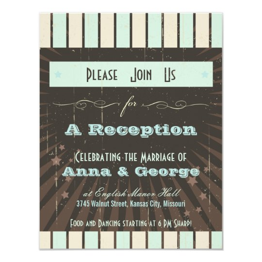 Rustic Poster: Blue & Cocoa Reception Only Card