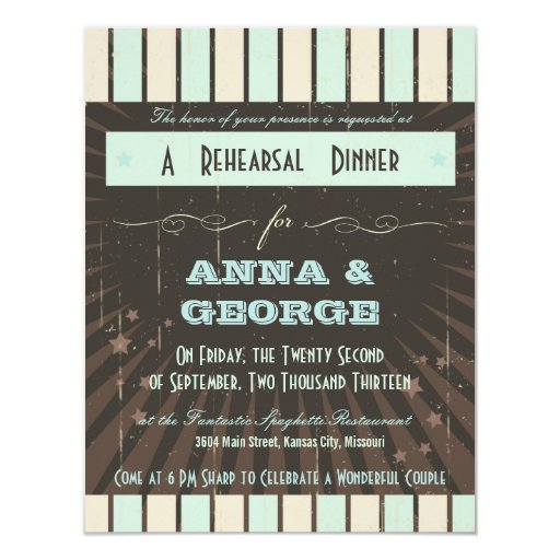 Rustic Poster: Blue & Cocoa Rehearsal Dinner Card