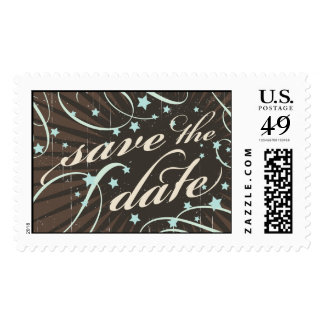 Rustic Poster: Blue & Cocoa Vintage Save the Date Postage