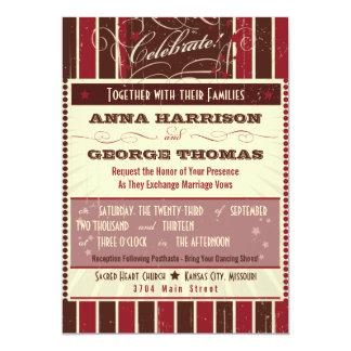 "Rustic Poster: Chocolate Burgundy Custom Wedding 5"" X 7"" Invitation Card"