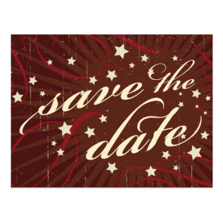 Rustic Poster: Chocolate Burgundy Save the Date Postcard
