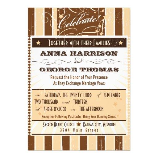 Rustic Poster: Cream & Brown Custom Wedding Custom Invitation
