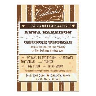 Rustic Poster: Cream & Brown Custom Wedding 5x7 Paper Invitation Card