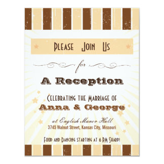 Rustic Poster: Cream & Brown Reception 4.25x5.5 Paper Invitation Card