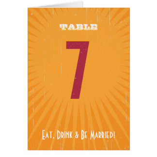 Rustic Poster: Pink & Orage Table Number Greeting Card