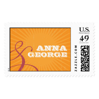 Rustic Poster: Pink & Orange Bright Wedding Postage Stamps