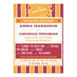 Rustic Poster: Pink & Orange Custom Wedding 5x7 Paper Invitation Card