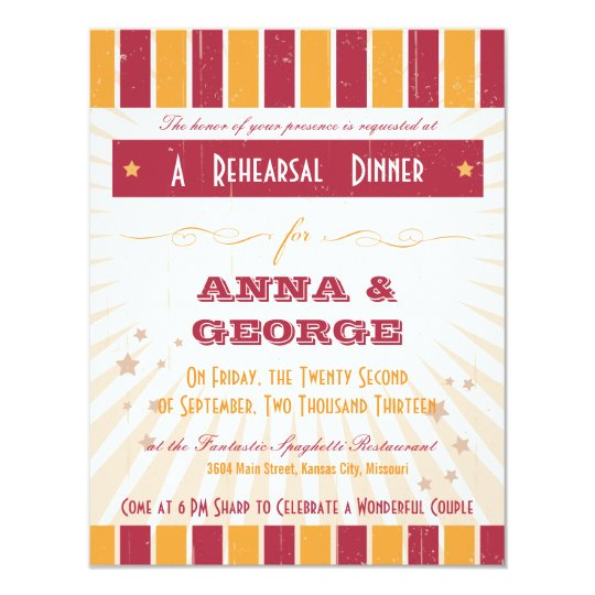 Rustic Poster: Pink & Orange Rehearsal Dinner Card