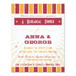 Rustic Poster: Pink & Orange Rehearsal Dinner 4.25x5.5 Paper Invitation Card
