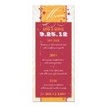 Rustic Poster: Pink & Orange Wedding Menu 4x9.25 Paper Invitation Card