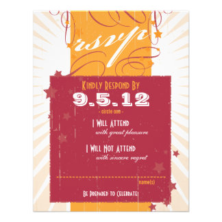 Rustic Poster: Pink & Orange Wedding RSVP Invites