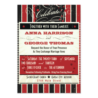 Rustic Poster: Red & Black Custom Wedding Announcements
