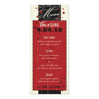 Rustic Poster: Red & Black Custom Wedding Menu 4x9.25 Paper Invitation Card