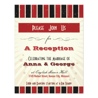 Rustic Poster Red Black Reception Only Invitation