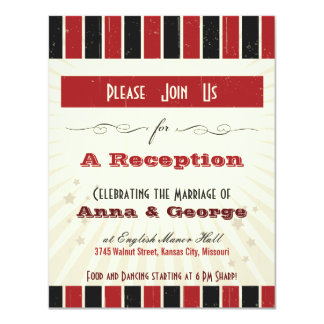 Rustic Poster: Red & Black Reception Only Invitation